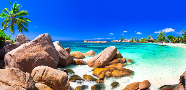 rocky beach in the Seychelles