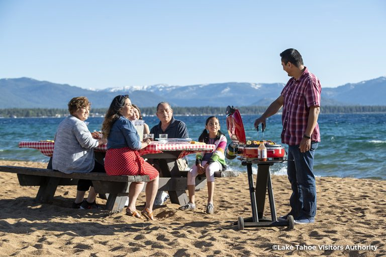 Family picnic on Nevada Beach, Lake Tahoe 1