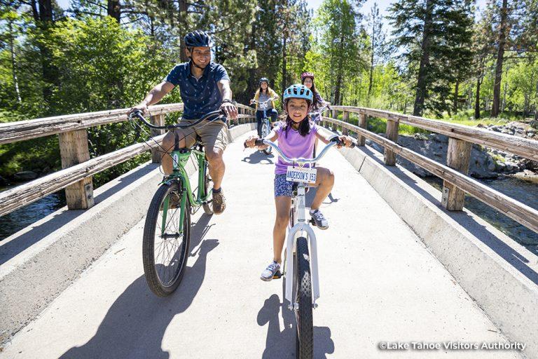 Family riding bikes on the bike trail at Taylor Creek, South Lake Tahoe 1