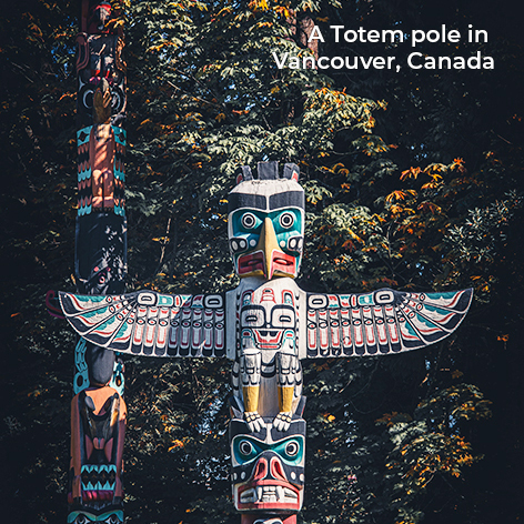 A Totem pole in Vancouver, Canada