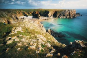 Cliffs disappearing into the Sea at Bullslaughter Bay, Pembrokeshire National Park, Wales