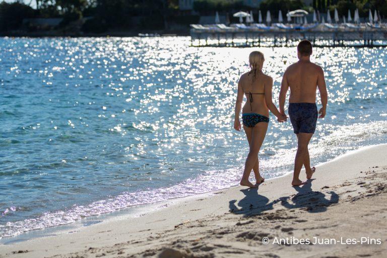 Couple on beach Antibes credited