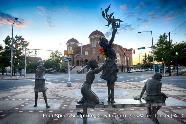 Four Spirits sculpture in Kelly Ingram Park Alabama Credit Ted Tucker and ATD