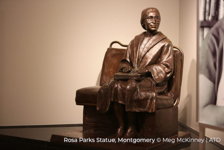 Rosa Parks Statue, Montgomery Alabama Credit Meg McKinney and ATD