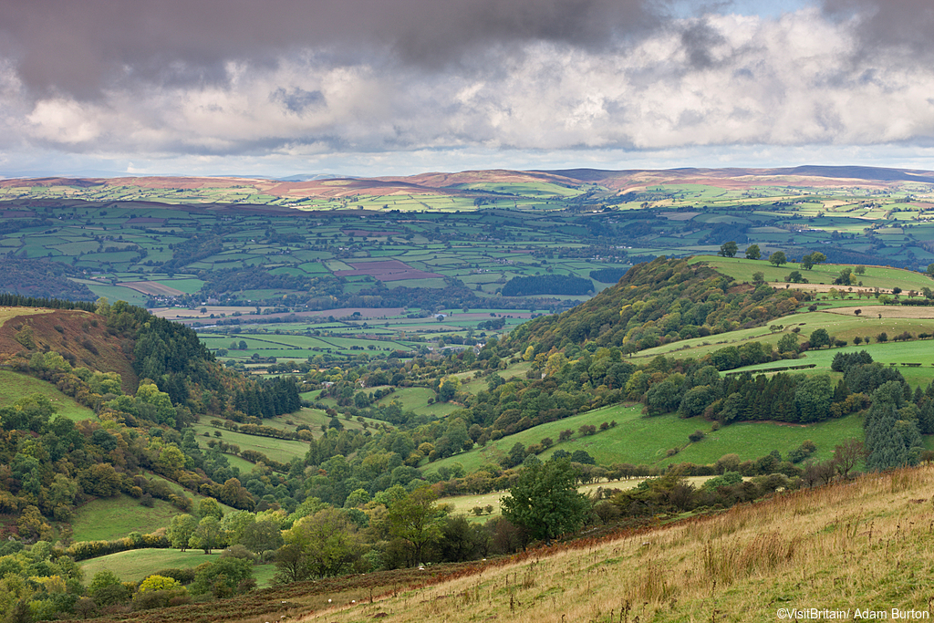 Rolling countryside near Hay on Wye. Farmland, and the hills of the Brecon Beacons national park.